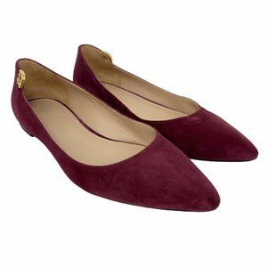 Tory Burch Elizabeth Purple Berry Suede Flats 6.5